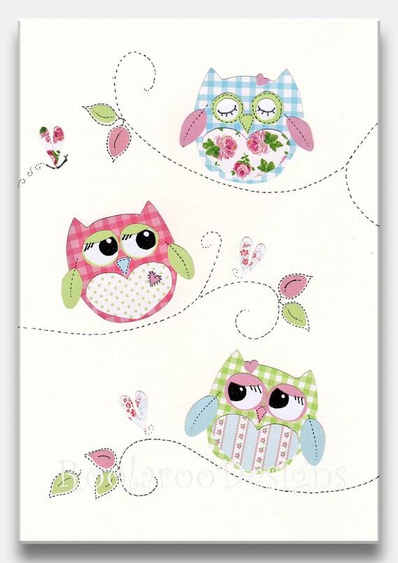 Items Similar To Nursery Art Print, Owl Decor, Baby Girl