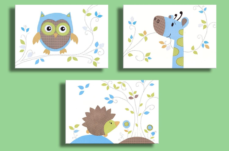 Nursery decor owl art print hedgehog giraffe 11x14 for Green wall art