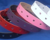Leather Choker Necklace 20mm Heart Punched Holes Choice of Colours Hand Made Real Leather Goth Punk