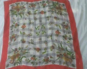 Red, White and Black Rose Print Scarf  ECS