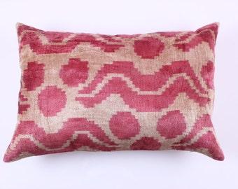 Buglem / Handmade ikat silk velvet Pillow Cover- 24,40x16 inch free shipment