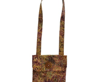 Multicolor Golds,Green and Browns Batik Print  Messenger Bag with a  Handmade Beaded Button, Purse,School  Bag