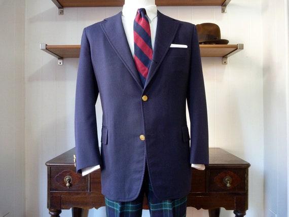 Vintage J. Press PRESSTIGE 100% Wool Navy Blue Sack Blazer 44 R.  Made in USA.