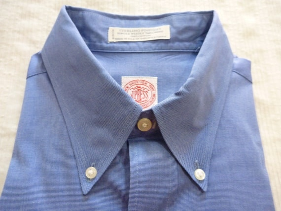 Vintage J. Press Solid Blue Pinpoint Oxford Cloth OCBD Button Down Collar Dress Shirt 16 1/2 - 36. Made in USA.