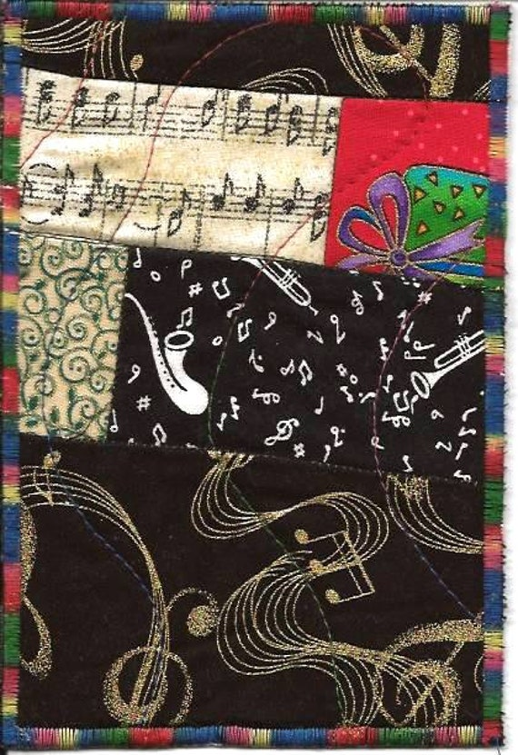The Gift of Music Fabric Postcard