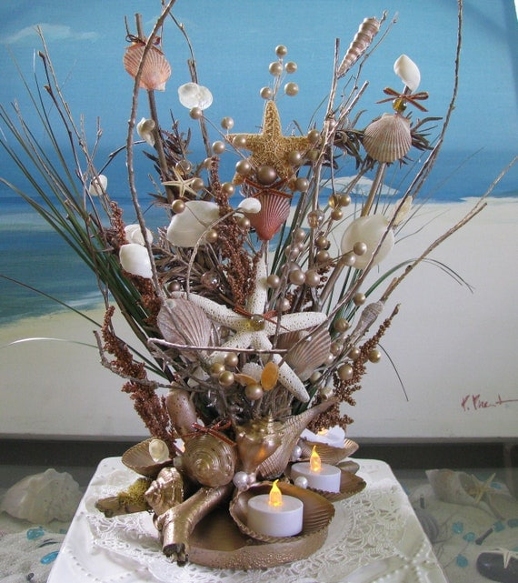 Seashell Centerpiece 20 InBeach Wedding By CeShoreTreasures