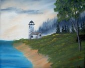 Lighthouse On The Shore oil painting 16x20