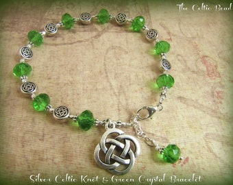 Beautiful Silver Celtic Knot & Green Crystal Charm Bracelet