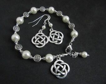 Silver Celtic Knot & Swarovski Pearl Bracelet and Matching Earring Set