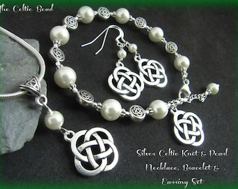 Silver Celtic Knot & Swarovski Pearl Necklace, Bracelet and Matching Earring Set