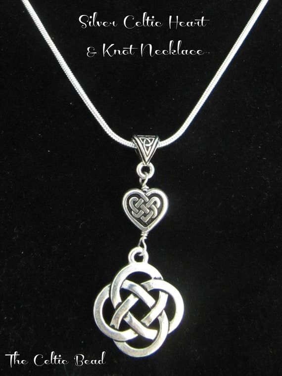 Silver celtic knot heart and irish knot necklace like this item mozeypictures Image collections