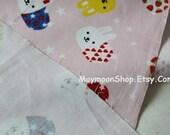 CVAM003 -1 Yard Cotton light Canvas Fabric - Cute Rabbit collection- Pink grounding