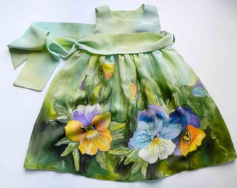 Flower silk dress hand painted for kids. Green dress , yellow flowers . Made to order.