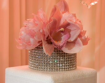 """Cake topper - 4"""" round with over 600 crystals"""