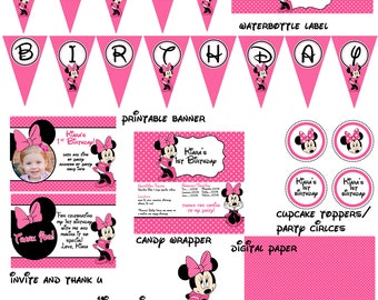 SALE Minnie Mouse Birthday Party Package Digital File