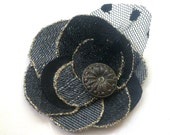 Steampunk flower for brooch or hair, grey, black denim fabric, glitter, button, vintage, antique, custom made, upcycling