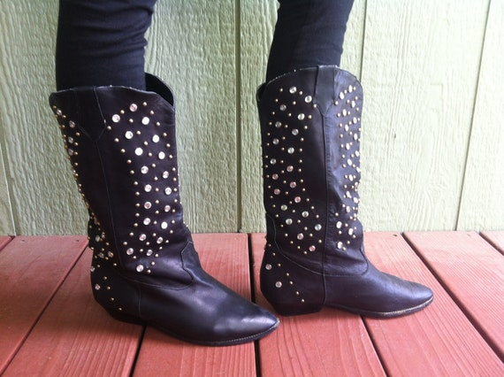 Size 6 Vintage Leather Studded Boots