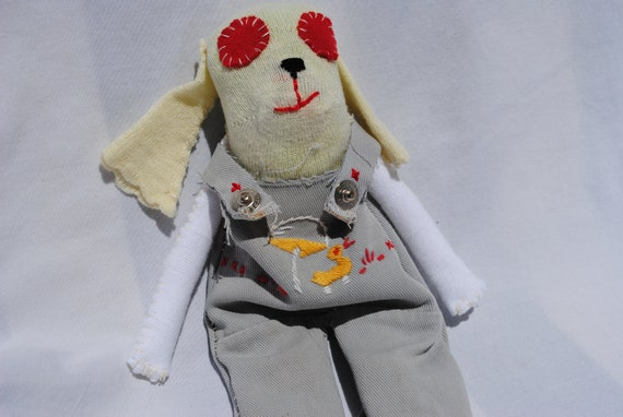 Baby Sock Puppy, Hand Stitched, Made with vintage recycled materials