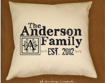 Family Name Pillow Cover, Personalized Pillow