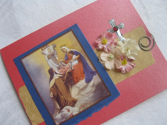 St Therese of Liseux  the Little Flower with the Virgin Mary Handmade Card Catholic