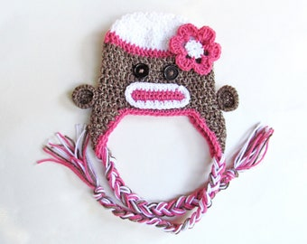Sock Monkey Earflap Hat with Pink Flower, All Sizes