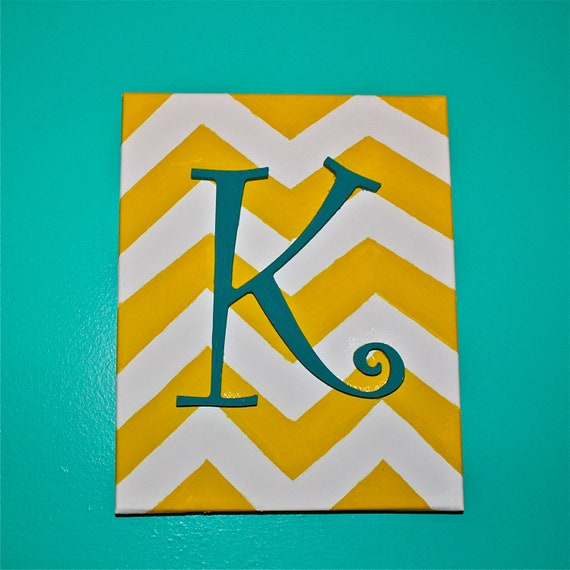 Items similar to initial canvas art hand painted chevron for Letter canvas