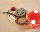 Vintage Casino Die and Charms Keychain - Rustic, Post-Apocalyptic