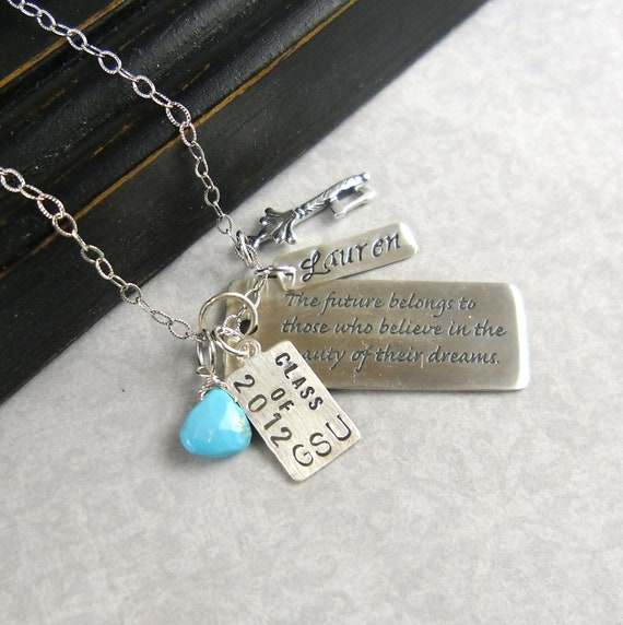 """CUSTOM LISTING for JENN- Believe, Dream, Birthstone, Sterling Necklace, Graduation Gift, Eleanor Roosevelt, Famous Quote """"The Future"""