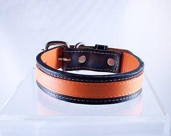 Custom Leather Dog Collar Classic Orange Small