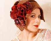 Flapper hat Autumn colors Wool cloche Fall fashion Fabric hat Fall hat Red brown cloche 1920s hat Flapper cloche Headband hat