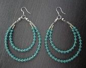 Turquoise & Silver Long 2 Row Beaded Hoop Jewelry Plated Earrings