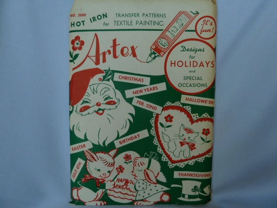 vintage 1950s transfer patterns holidays textile painting