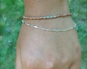 Copper, Silver, and Leather Bracelet, Dainty, Layered, Unique Jewelry
