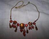 Vintage pretty Orange rhinestone dangling necklace 18 inch