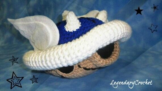 Crochet Mario kart blue turtle shell
