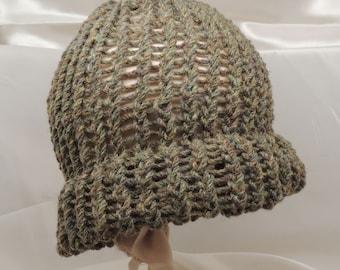 Forest Green Knit Aran Wool Cap