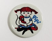 Vintage Pippi Longstocking pin button badge from the Soviet era