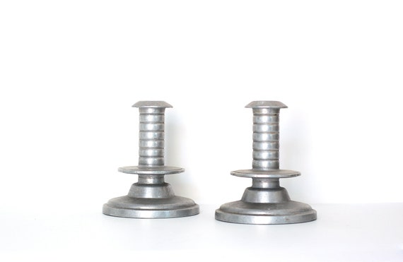 Industrial-look Pewter Candlestick Holders