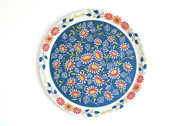 Large Metal Blue and Red Floral Tray