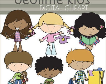Bedtime Kids Clipart -Personal and Limited Commercial Use- cute kids in pajamas clip art