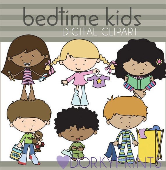Put Clothes Away Cartoon ~ Bedtime kids clipart personal and limited commercial use
