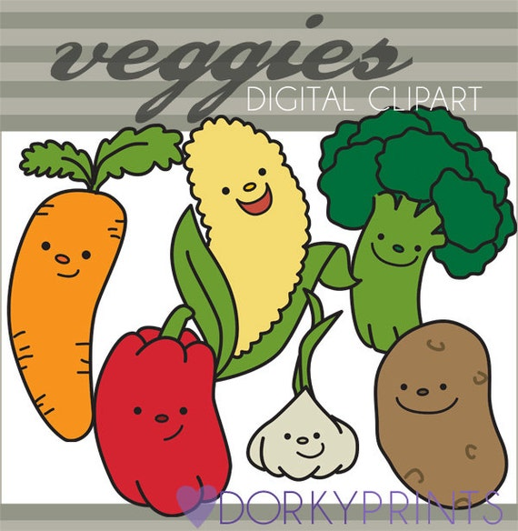 Vegtables Clipart Set -Personal and Limited Commercial Use- Carrot, broccoli, red pepper, cute potato, kawaii clipart