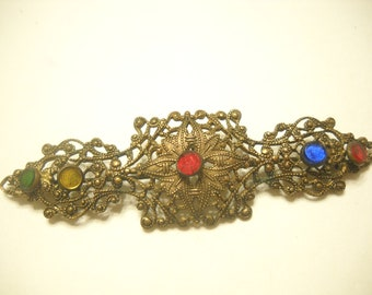 Vintage Art Deco Gold Tone Brooch (1593)