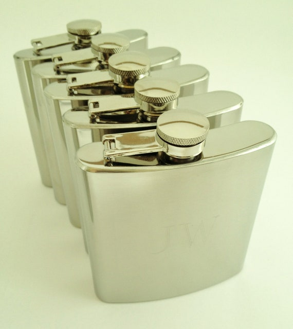 5 Engraved Flasks With Mirror Finish - Monogrammed Gifts for Groomsmen