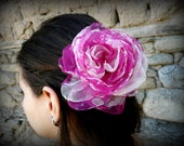 Pink Flower hair, Bridesmaid hair accessory,  Bridal Fascinator,Flower puff clip