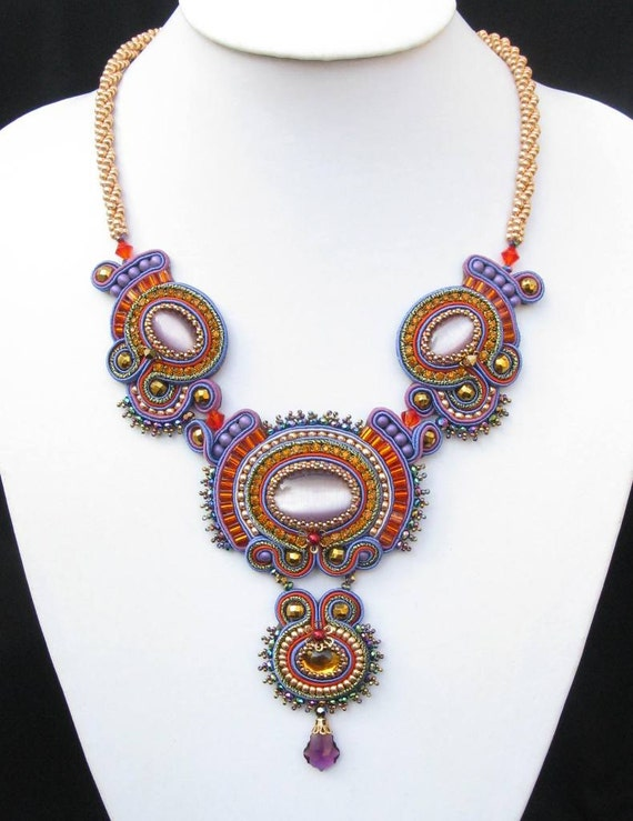 Stella Luminosa Lilac, Orange, Orange, Gold and Green Soutache beaded necklace