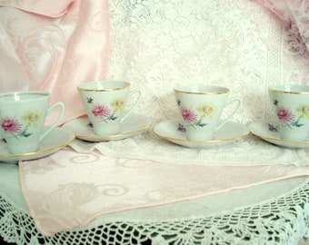 Vintage Teacups Demitasse Freiberger Porzellan Porcelain Germany Tea Cups Set of 4 Shabby Cottage Chic Vintage