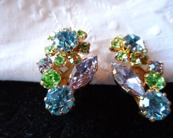 Gold Tone Clip Earrings, Made in Austira, Floral Pattern