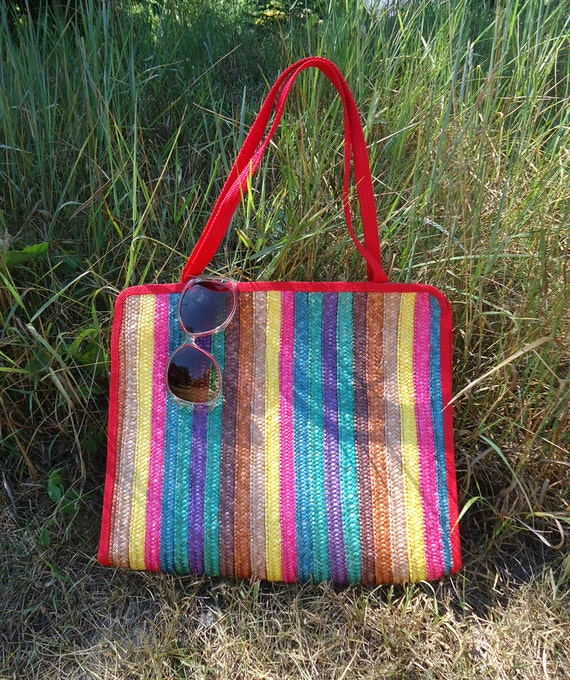Marked Down-Vintage 1960's MISTER ERNEST Multicolored Woven Italian Beach bag/ Tote