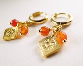 Carnelian and Sun Charm Mini Gold Hoop Earrings - Mini Me Earrings, Fall Colours, July Birthstone, Under USD25